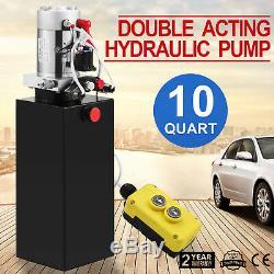 10 Quart Double Acting Hydraulic Pump Dump Trailer Lift Crane 12V