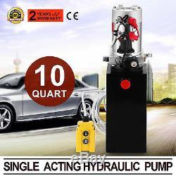 10 Quart Single Acting Hydraulic Pump Dump Trailer Lifting Remote Reservoir