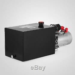 12 Quart 12V DC Single Acting Hydraulic Pump Trailer Dump Steel Reservoir