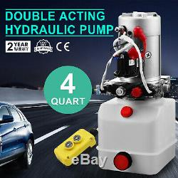 12 Volt Hydraulic Pump for Dump Trailer 4 Quart Poly Double Acting