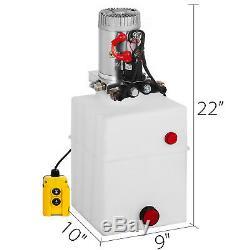 20 Quart Double Acting Hydraulic Pump Dump Trailer 12V Power Unit Lift