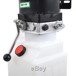 220V 10L Single Acting Hydraulic Pump Dump Trailer 2.64 Gallon Tank Auto Lifts