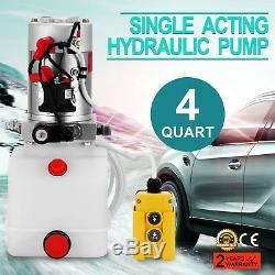 4 Quart Single Acting Hydraulic Pump Dump Trailer Car Lift 12 Volt Repair