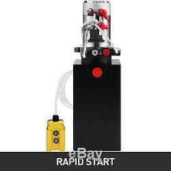 6 Quart Double Acting Hydraulic Pump Dump Trailer 12V Lift Crane