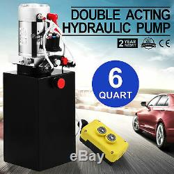 6 Quart Double Acting Hydraulic Pump Dump Trailer Unloading Lift Crane