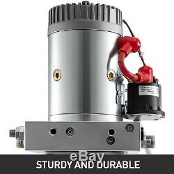 6 Quart Dual Double Acting Hydraulic Pump Dump Trailer Remote Reservoir Car