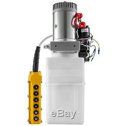 6 Way Hydraulic Pump 12V 6 Quart Double Acting Dump Trailer Control Kit