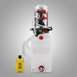 8 Quart Double Acting Hydraulic Pump Dump Trailer 12V Lifting Power Unit