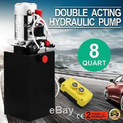 8 Quart Double Acting Hydraulic Pump Dump Trailer Crane Remote Car