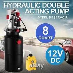 8 Quart Double Acting Hydraulic Pump Dump Trailer Power Unit Crane Car