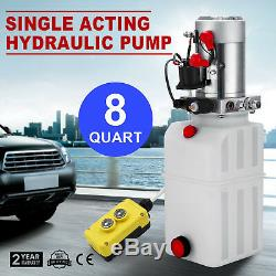 8 Quart Single Acting Hydraulic Pump Dump Trailer Crane Lift Car