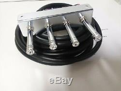 Lowrider hydraulics PRE-WIRED CLEAR JEWEL 2-PUMP-4DUMP F-B-BL-BR 4 SWITCH 20 FT