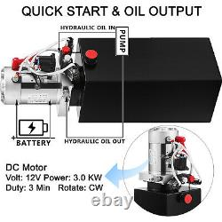 VEVOR Double Acting Power Unit Hydraulic Pump 10qt Dump Trailer Pump Car Lifting