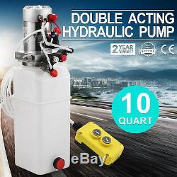 10 Pintes Pompe Hydraulique Double Effet Dump Trailer Kit De Contrôle Déchargement 12v