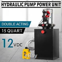 15 L 12v DC Double Effet Pompe Hydraulique Remorque À Déchargement Réservoir Métallique 15 Pintes