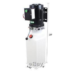 220 V 10l Pompe Hydraulique Simple Effet Remorque Benne 2,64 Gallon Leviers Réservoir Auto