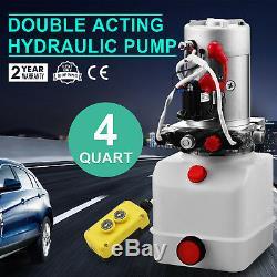 4 Pintes Pompe Hydraulique Double Effet Remorque Benne Déchargement 12v Unité