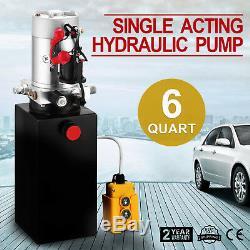 6 Pintes Simple Effet Pompe Hydraulique Benne Remorque 12v Ascenseur Réservoir