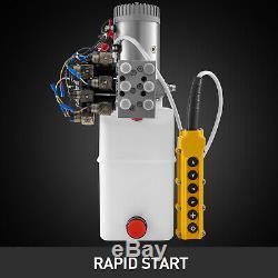 6 Way 6 Pintes Double Effet Pompe Hydraulique À Benne Remorque 12v À Distance De Voiture