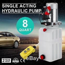 8 Pintes Simple Effet Pompe Hydraulique Remorque À Déchargement Puissance Unité De Levage Déchargement