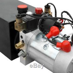 Pompe Hydraulique Double Effet 12vdc Dump Trailer 10 Pintes Métal Réservoir Us