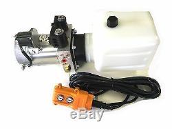Pompe Hydraulique Unité De Puissance Double Effet 12v DC Dump Trailer 6 Pintes Avec Télécommande