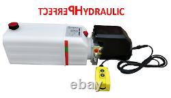 Remorque À Décharge Hydraulic Power Unit 12v 2 Kw Single Action Remote 12 Quart Pump