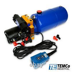 Temco 12v DC Hydraulique Unité D'alimentation Dump Trailer Pump 8 Qt Pu / (double Acting)